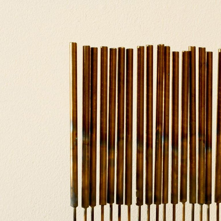 24 Cat-Tails Rods - Beige Abstract Sculpture by Val Bertoia