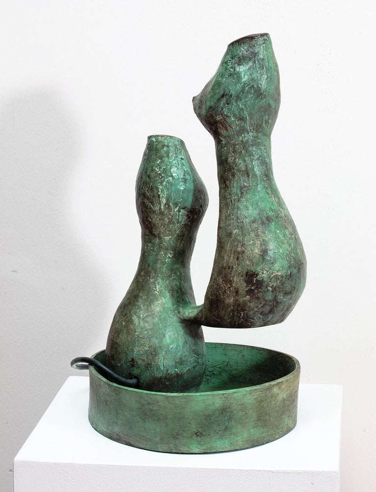 Bronze Fountain Sculpture - Gold Abstract Sculpture by Val Bertoia