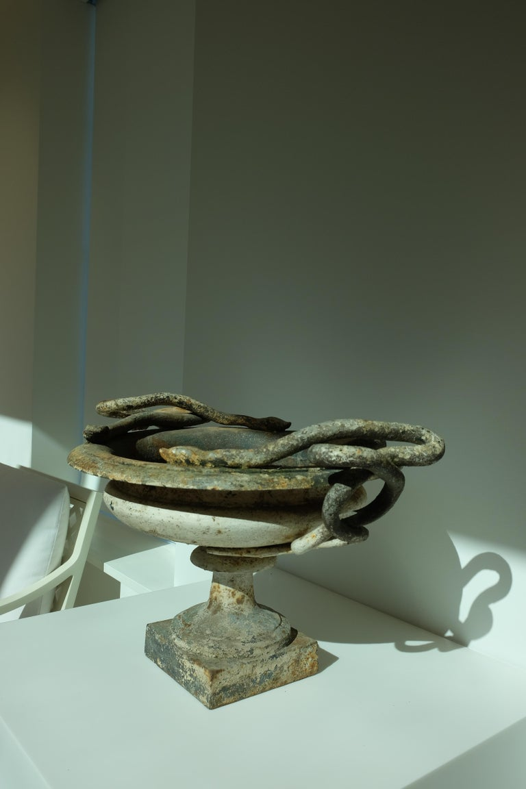 Val d'Osne Cast Iron White Snake Urns For Sale 6