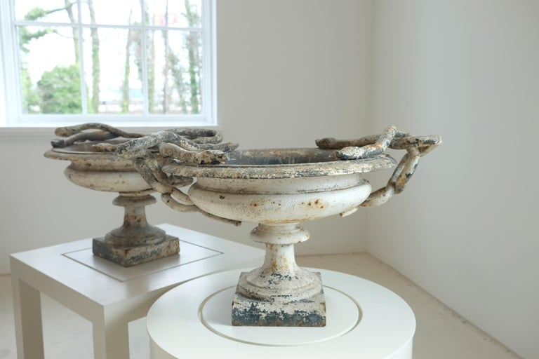 French Val d'Osne Cast Iron White Snake Urns For Sale