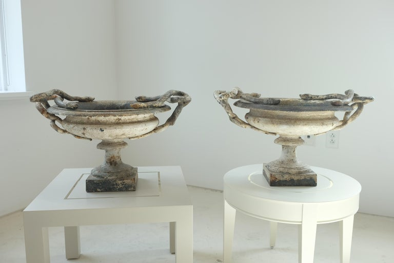 19th Century Val d'Osne Cast Iron White Snake Urns For Sale