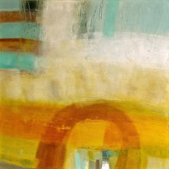 Colour and Form - contemporary abstract yellow bright encaustic oil painting