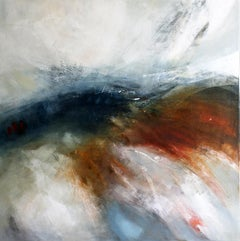 Emergence III -contemporary abstract white and red painting oil on canvas