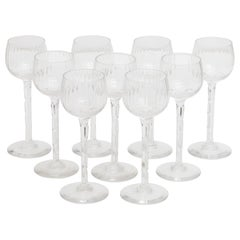 Val Saint Lamber Crystal Clear Faceted Wine Glasses Set of Nine