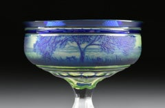 Val Saint Lambert Cobalt Blue Cased and Cut Cameo Glass Champagne Coupe