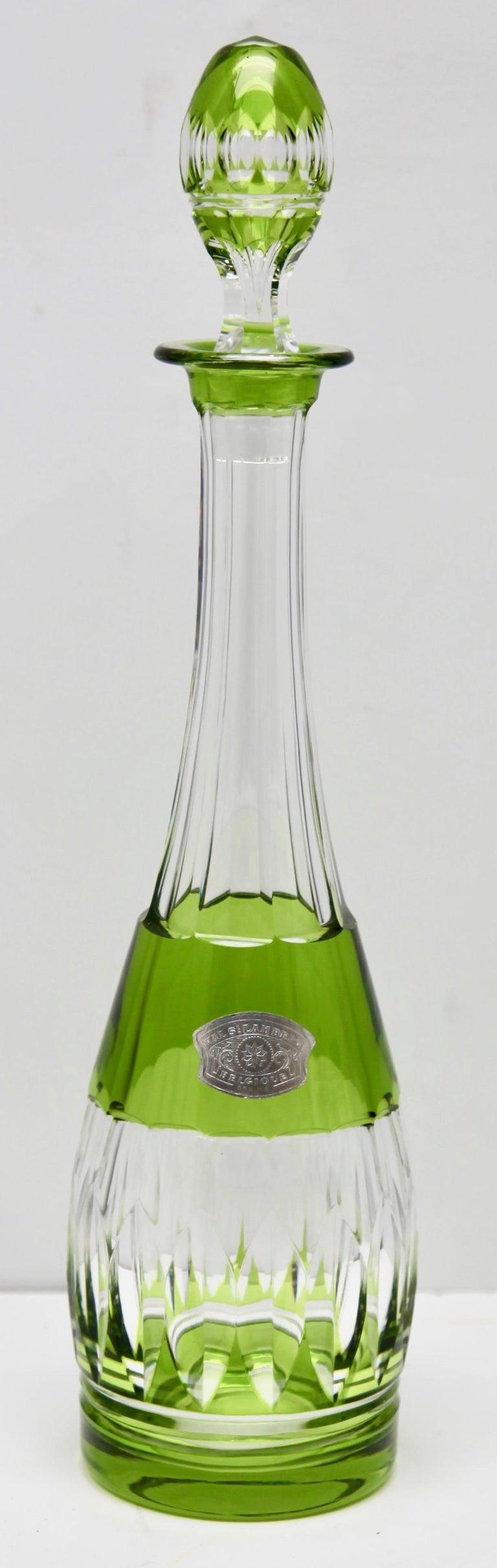 Val Saint Lambert Crystal Decanter, 6 Crystal Wine Goblets Handcut, 1950s For Sale 8