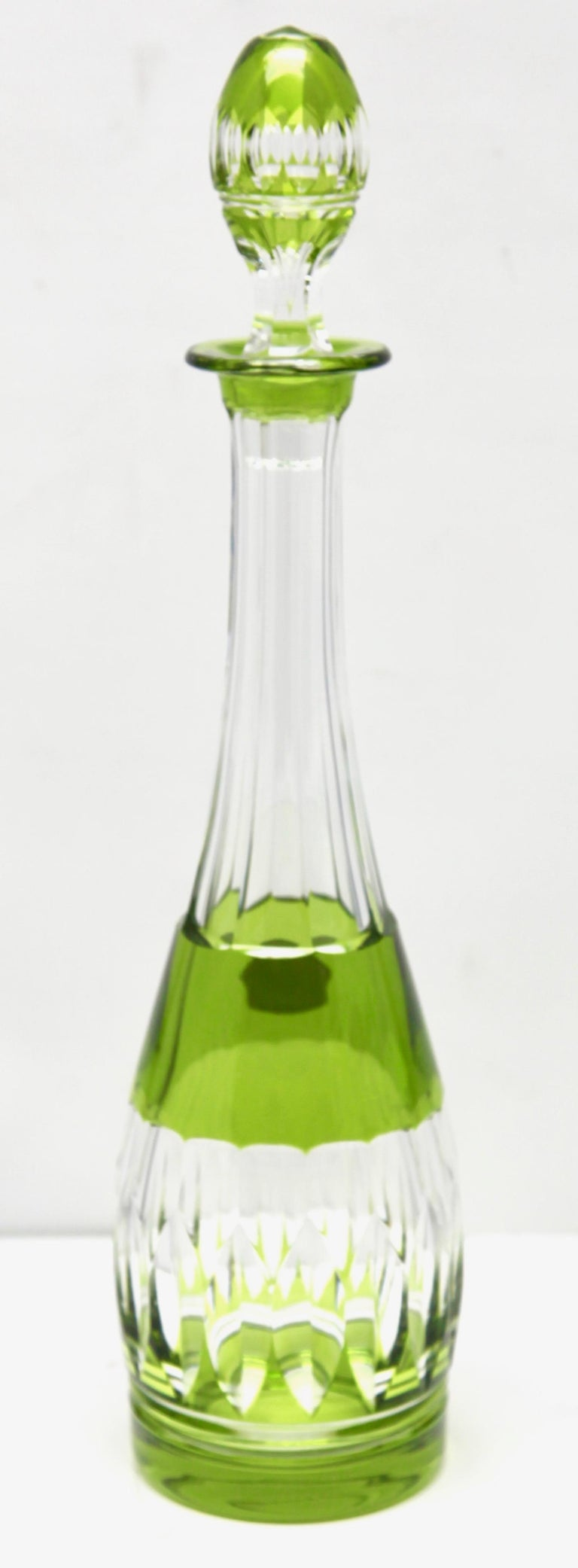 Val Saint Lambert Crystal Decanter, 6 Crystal Wine Goblets Handcut, 1950s For Sale 9