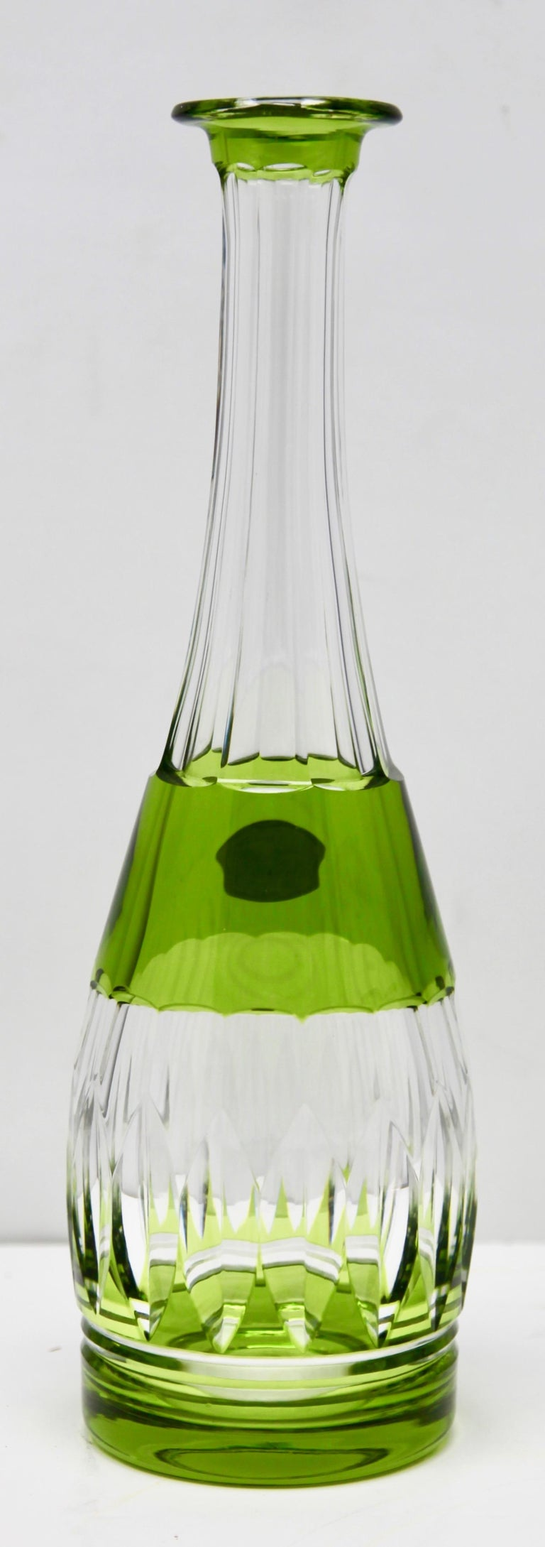 Val Saint Lambert Crystal Decanter, 6 Crystal Wine Goblets Handcut, 1950s For Sale 11