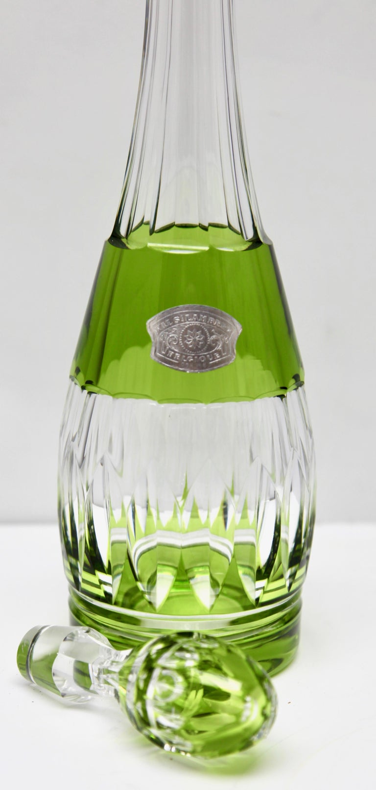 Val Saint Lambert Crystal Decanter, 6 Crystal Wine Goblets Handcut, 1950s For Sale 12