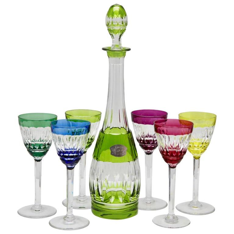 Val Saint Lambert Crystal Decanter, 6 Crystal Wine Goblets Handcut, 1950s For Sale