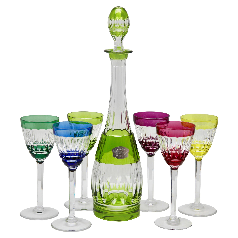 Val Saint Lambert Crystal Decanter, 6 Crystal Wine Goblets Handcut, 1950s