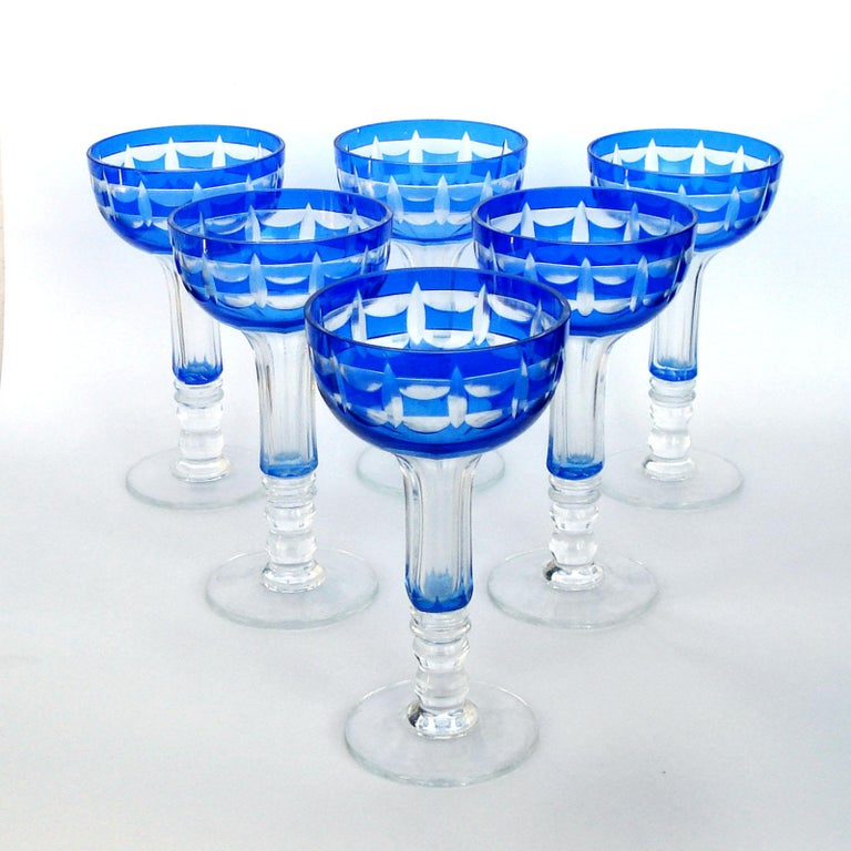 Val Saint Lambert Crystal Goblets Cobalt Blue Overlay Cut to Clear Set of 12 For Sale 5