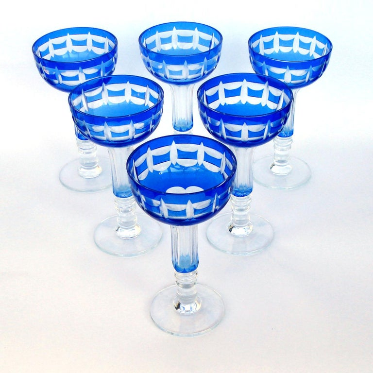 Val Saint Lambert Crystal Goblets Cobalt Blue Overlay Cut to Clear Set of 12 For Sale 6