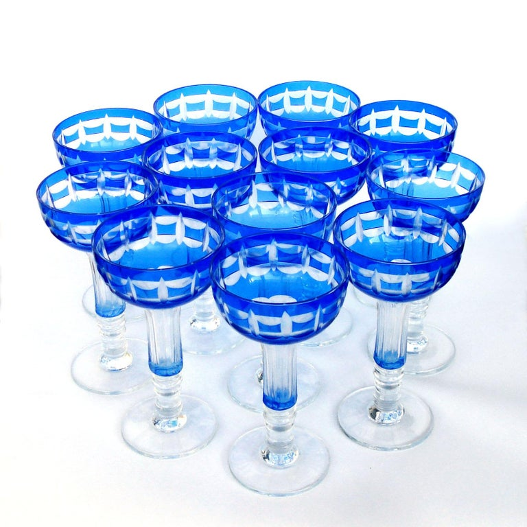 Val Saint Lambert Crystal Goblets Cobalt Blue Overlay Cut to Clear Set of 12 For Sale 7