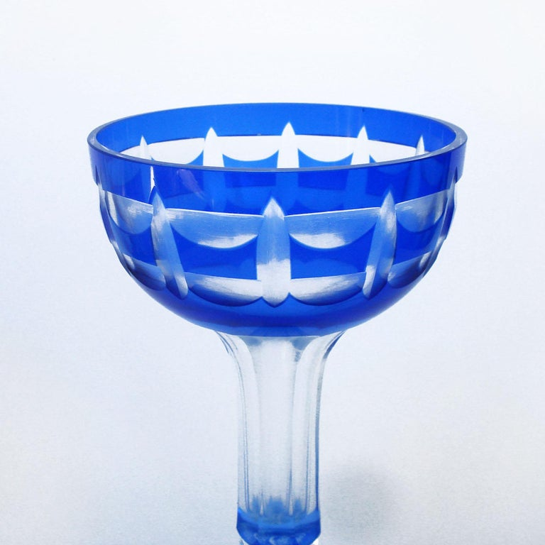 Val Saint Lambert Crystal Goblets Cobalt Blue Overlay Cut to Clear Set of 12 In Excellent Condition For Sale In Bochum, NRW