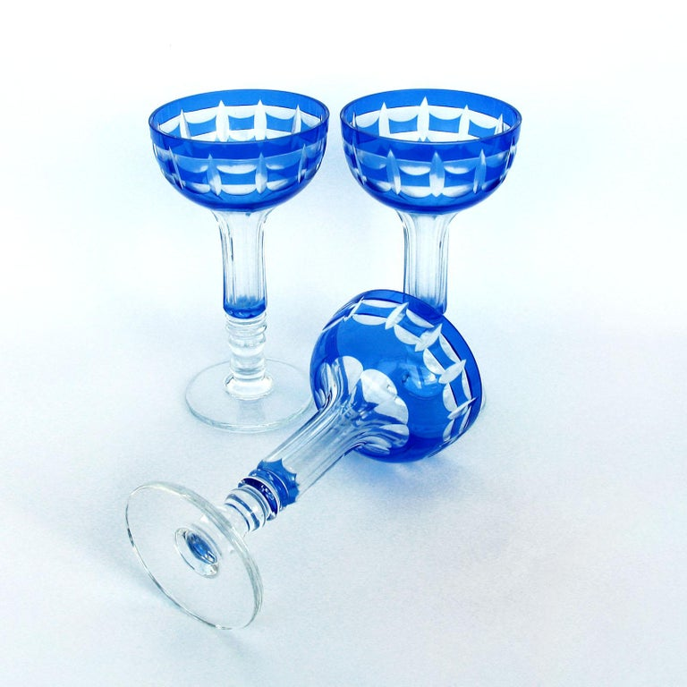 Val Saint Lambert Crystal Goblets Cobalt Blue Overlay Cut to Clear Set of 12 For Sale 1