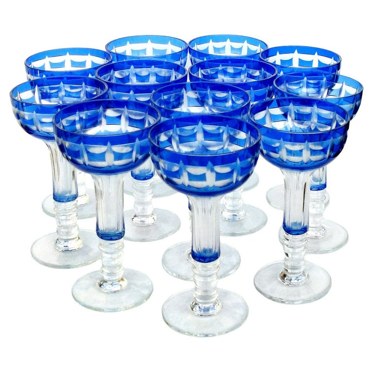 Val Saint Lambert Crystal Goblets Cobalt Blue Overlay Cut to Clear Set of 12 For Sale