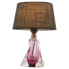 Val Saint Lambert Crystal Table Lamp with Label, Excellent Condition