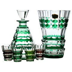 Val Saint Lambert Crystal Vase and Decanter Cut-to-Clear Signed, PU 'Unica'