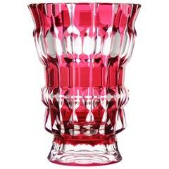 Val Saint Lambert Crystal Vase Charles Graffart Cut to Clear Signed