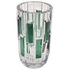Val Saint Lambert Cut Crystal Vase Charles Graffart Clear & Green Belgium, 1950s