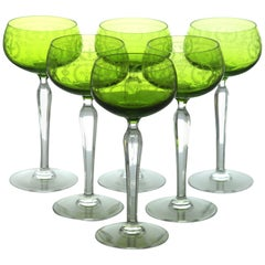 Val Saint Lambert High Romer Glass Early 1900 Green Engraved