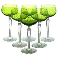 Val Saint Lambert High Romer Glass Early 1900 Green