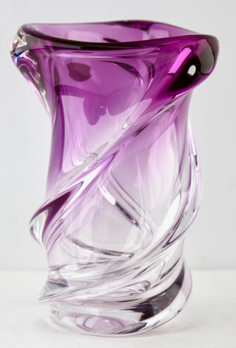 Belgian Val Saint Lambert Label Sculpted Crystal Vase with Sommerso Core, Belgium For Sale