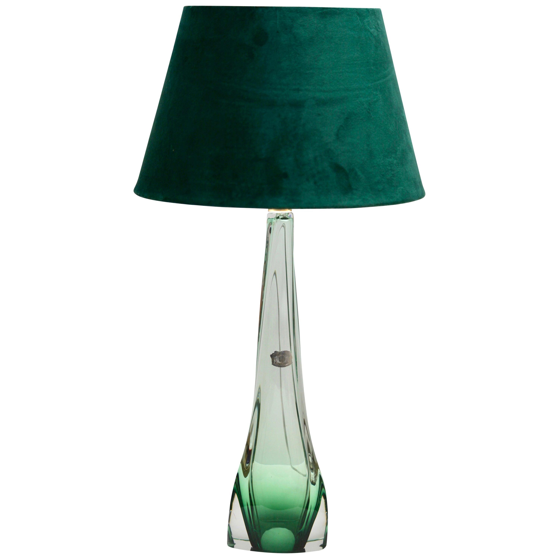 Val Saint Lambert Large Light' Crystal Glass Table Lamp in Emerald Green