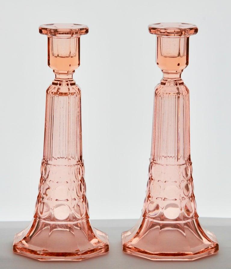 Glass Val Saint Lambert Luxval Pair of Art Deco Candlesticks by Charles Graffart