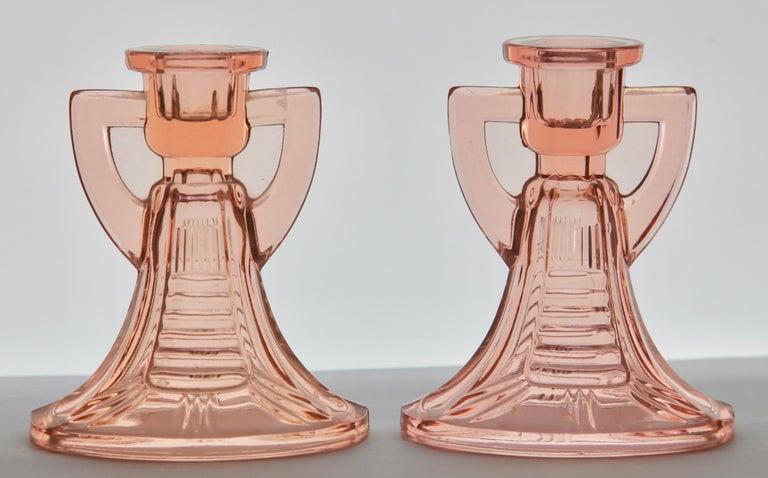 Art Deco Val Saint Lambert, Luxval Two 'Victoria Candlesticks by Graffart & Delvenne For Sale