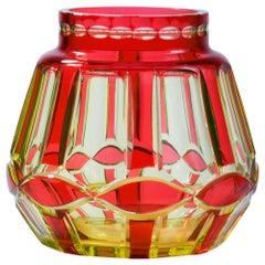 Val Saint Lambert 'Palacio' Ruby Over Uranium Yellow Cut Glass Vase