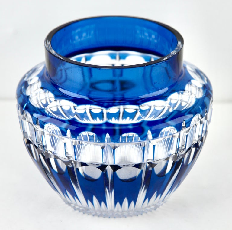 Art Deco Val Saint Lambert 'Pique Fleurs' Vase, Crystal Cut-to-Clear, with Grille For Sale