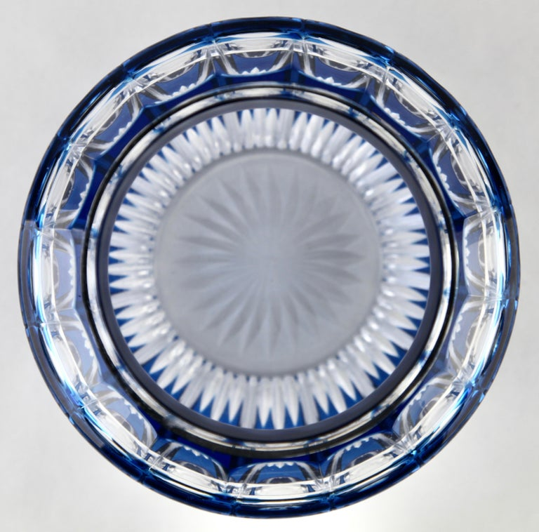 Val Saint Lambert 'Pique Fleurs' Vase, Crystal Cut-to-Clear, with Grille For Sale 1