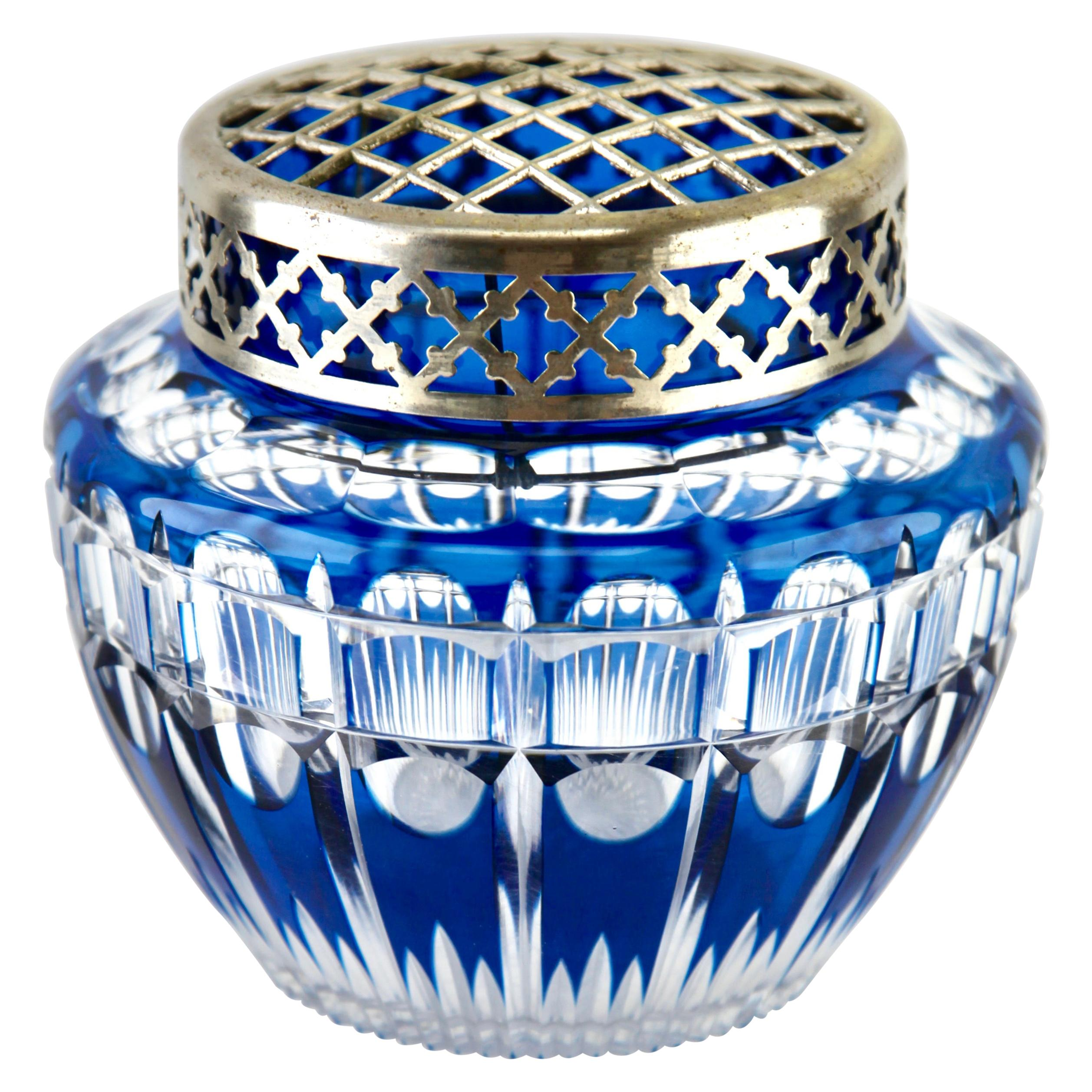 Val Saint Lambert 'Pique Fleurs' Vase, Crystal Cut-to-Clear, with Grille