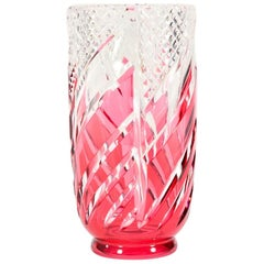 Val Saint Lambert Signed Art Deco Crystal Vase Cranberry Overlay Cut to Clear