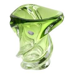 Val Saint Lambert Signed Crystal Vase, Belgium in Excellent Condition, 1950s