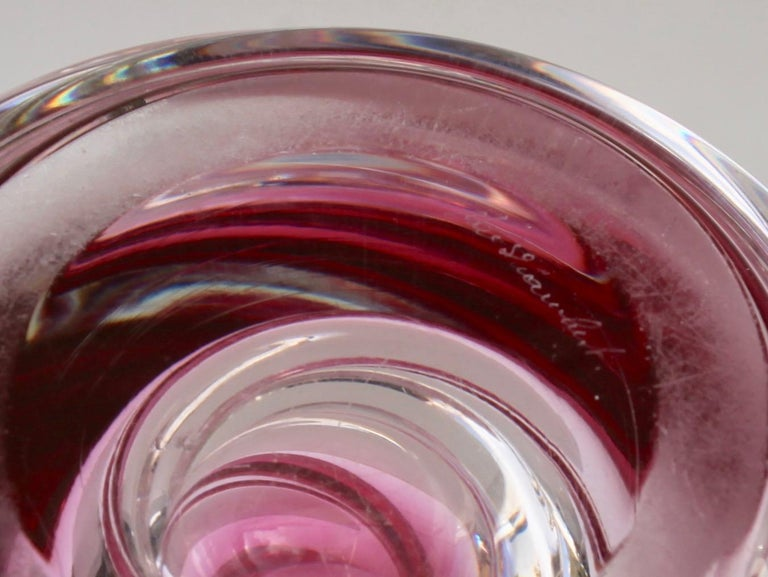 Mid-20th Century Val Saint Lambert Signed Sculpted Crystal Vase with Sommerso Core, Belgium