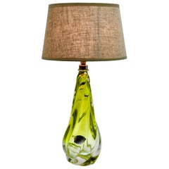 Val Saint Lambert Signed 'Twisted Light' Crystal Glass Table Lamp, 1950s