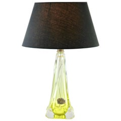 Val Saint Lambert Signed 'Twisted Light' Crystal Glass Table Lamp, 1953