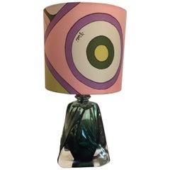 Val Saint Lambert Table Lamp Colour Dark Green with Pucci Lampshade