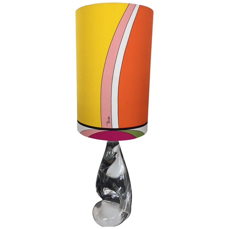 Val Saint Lambert Table Lamp With Pucci Lamp Shade For Sale At 1stdibs