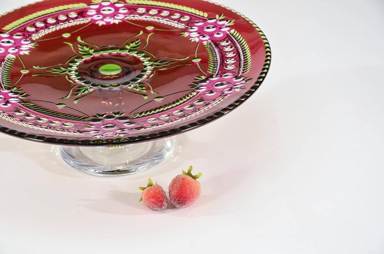 Val Saint Lambert Three-Color Overlay Cut to Clear Rare Footed Cake Plate For Sale 2