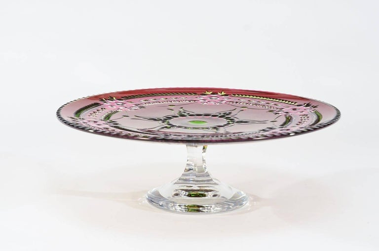 Art Deco Val Saint Lambert Three-Color Overlay Cut to Clear Rare Footed Cake Plate For Sale