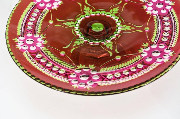 Belgian Val Saint Lambert Three-Color Overlay Cut to Clear Rare Footed Cake Plate For Sale
