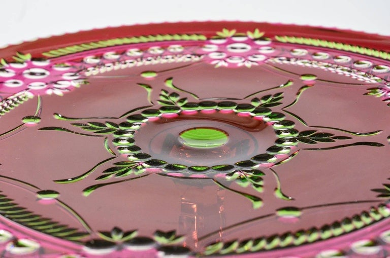 Val Saint Lambert Three-Color Overlay Cut to Clear Rare Footed Cake Plate In Excellent Condition For Sale In Great Barrington, MA