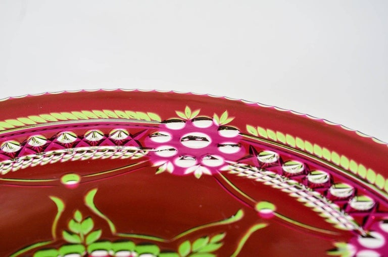Glass Val Saint Lambert Three-Color Overlay Cut to Clear Rare Footed Cake Plate For Sale
