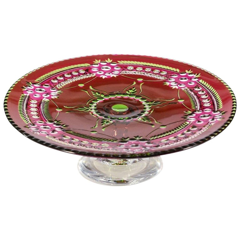 Val Saint Lambert Three-Color Overlay Cut to Clear Rare Footed Cake Plate For Sale
