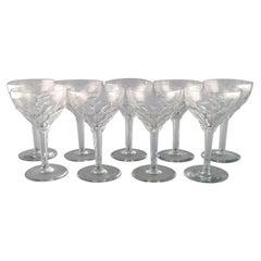 Val St. Lambert, Belgium, Nine Red Wine Glasses in Clear Crystal Glass