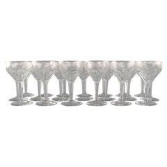 Val St. Lambert, Belgium, Twenty Red Wine Glasses in Clear Crystal Glass